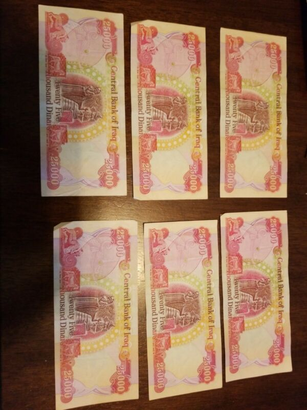 1 × CIRCULATED 25,000 (25000) Iraqi Dinar No writing, no tears + 2 free 250