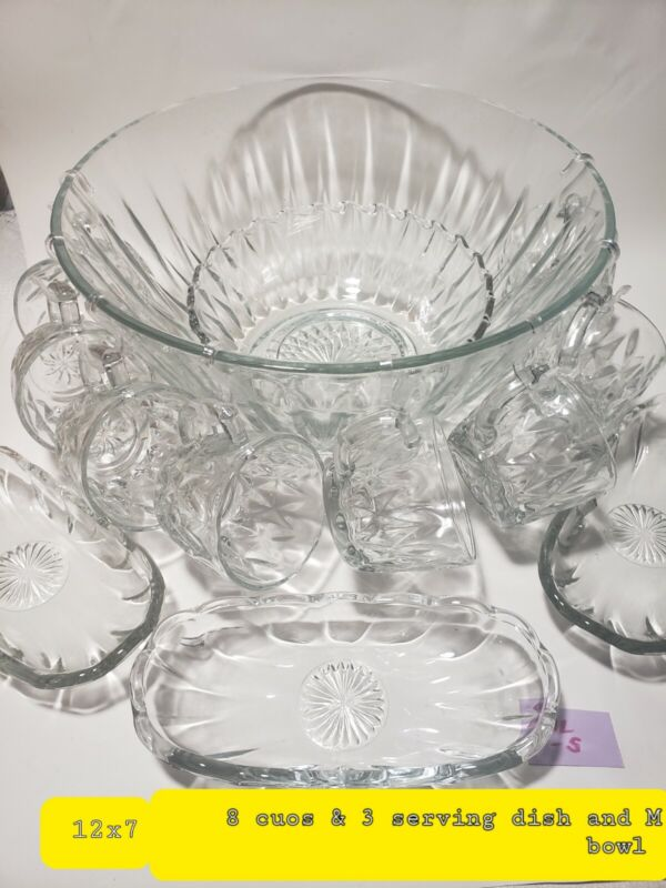 Vintage Clear glass  Punch Bowl, 8Cups set with more !!!