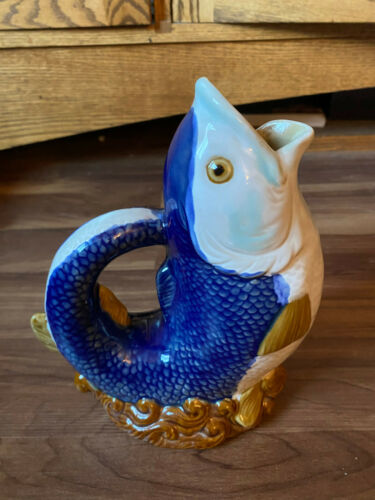 Vintage Ceramic Open Mouth Fish Vase Blue / White / Gold Possibly Glugger