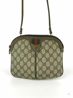 GUCCI Beige GG Web Supreme Canvas Striped Vintage Crossbody Bag Pleated