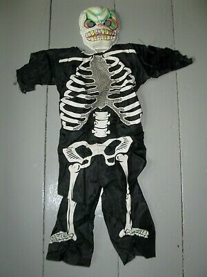 Vintage Skeleton Costume (Vintage Ben Cooper HALLOWEEN Costume SKELETON Medium 8-10 In Box SPOOKY)