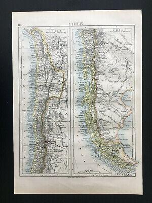 Antique Map Of Chile South America Santiago 1892