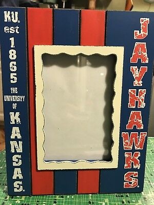 KU Picture Frame - University of Kansas Jayhawks - Blue/Crimson Painted Wood