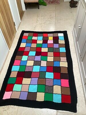 Vintage Mid century 1960s Knitted Patchwork Blanket throw 51 x 81 inches