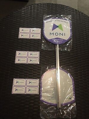 - 2 Moni Security Reflective Yard Signs With Aluminum Stake + 12 Window Decals-New
