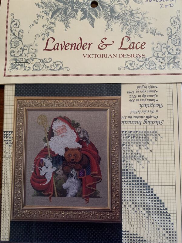 """93' Lavender & Lace Victorian Designs Cross Stitch Leaflet """"Santa Of The Forest"""""""