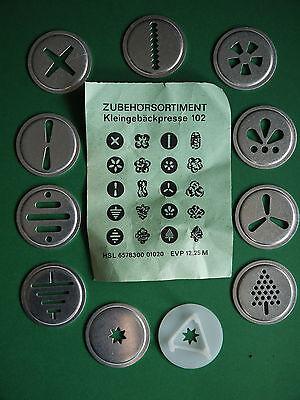 Zubehör DDR Kleingebäckpresse Robotron 102 Gebäckpresse Aufsätze Kekspresse OVP