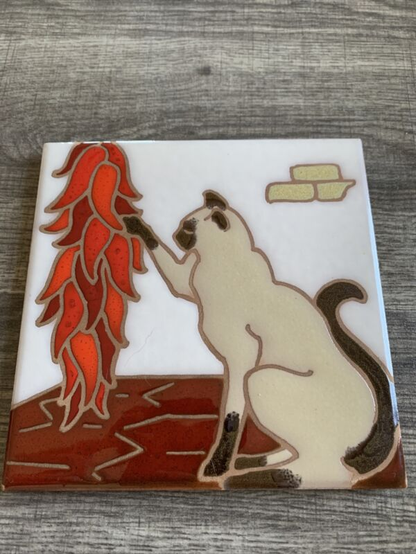 """Arius Santa Fe Art Tile 6"""" Square Siamese Cat & Chili Peppers Southwest #2610"""
