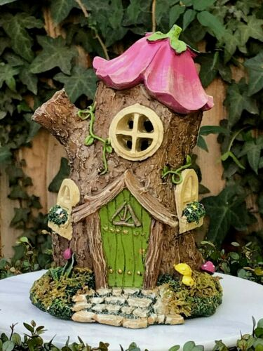 Miniature Dollhouse FAIRY GARDEN ~ Mini Flower Top Tree House with Moss & Light