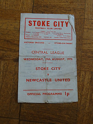 Stoke v Newcastle Central League Aug 29th 1973