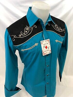 Men RODEO WESTERN COUNTRY TEAL BLACK PAISLEY Woven SNAP UP Shirt Cowboy 06615