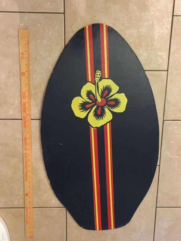 Vintage 1970s Wood Skim Boogie Board Rare Flower Man Cave Beach House