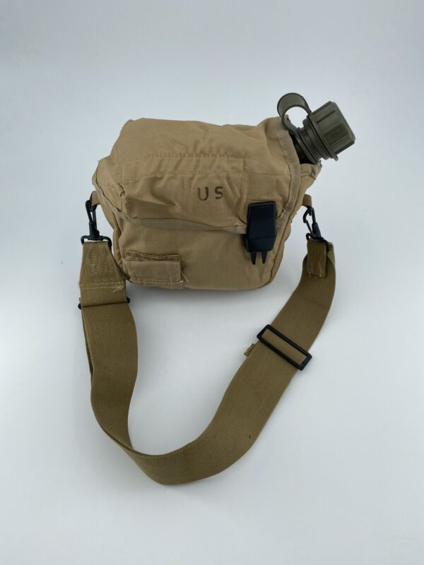 New 2 QT Collapsible Water Canteen +Used Desert Tan Cover Pouch & Sling US Army