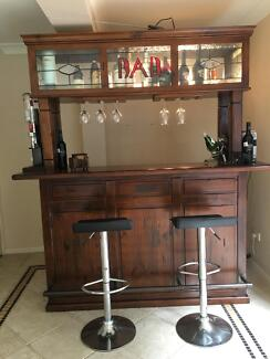 Wooden Bar with stools and bar fridge
