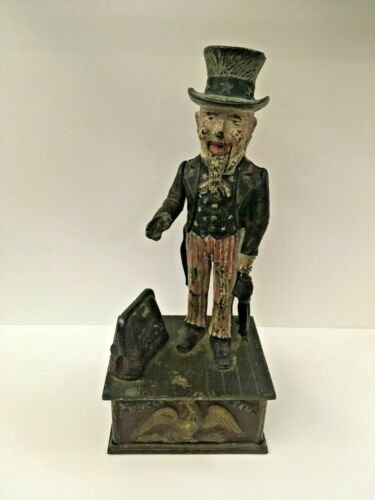 1886 Shepard Uncle Sam Antique Original Cast Iron Mechanical Bank