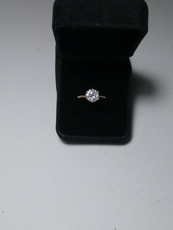 Faux Diamond 1 CT Solitaire with Yellow Gold Tone Band Ring Size 10