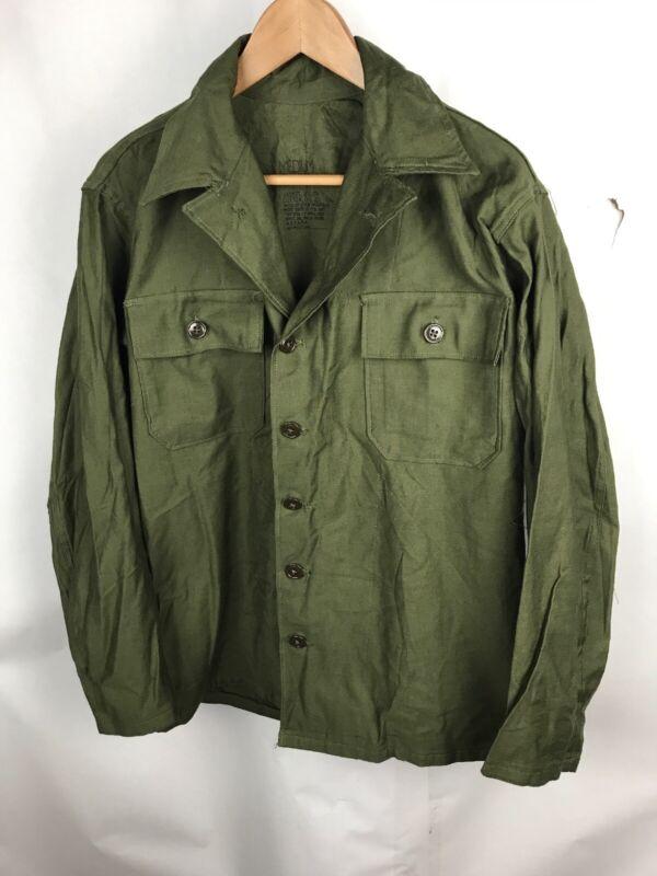Vintage WWII Korea War US Army OG-107 Utility Sateen Shirt Jacket 7 AVAILABLE! i