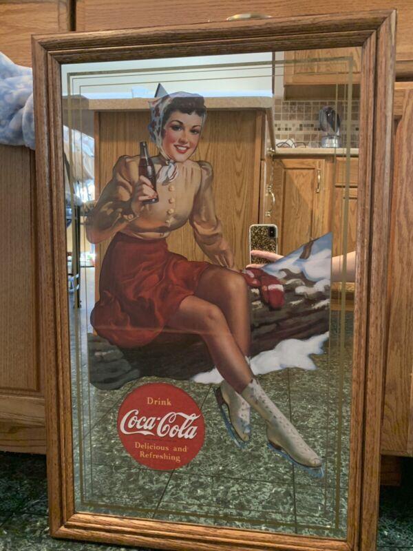 Coca Cola Advertising Pub Bar Mirror-Girl With Ice Skates