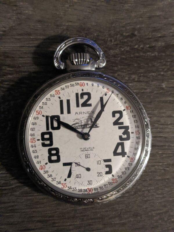 Vintage Arnex Pocket Watch Wind Up Railroad 17 Jewels Incabloc Swiss made