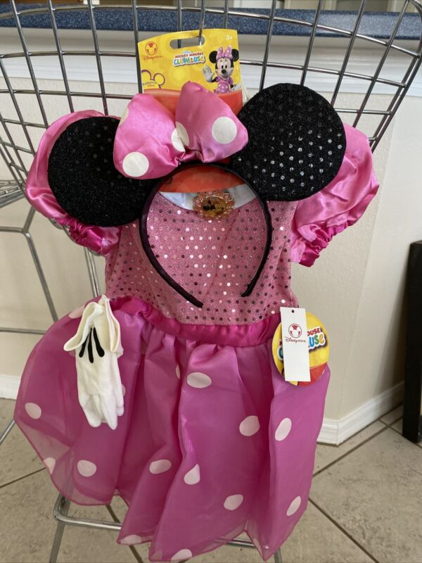 New Disney Store Clubhouse MINNIE MOUSE Pink Costume Dress 2T-3T Extras