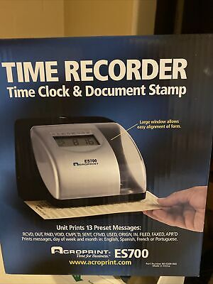 Acroprint Es700 Time Recorder Time Clock Document Stamp