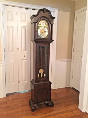 Vintage Herschede Grandfather Clock Westminster Chimes Runs Strikes & Chimes!