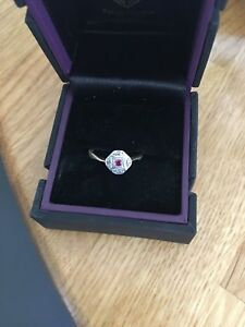 18ct Gold Art Deco Ruby Diamond Ring. Size K.