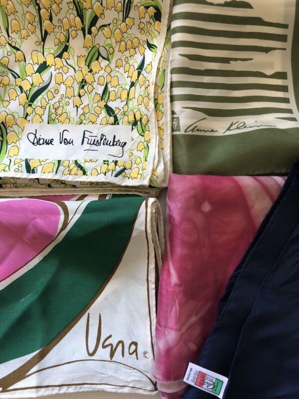 Lot of 5 Vintage Signed Designer Scarves Anne Klein Vera Diane Von Furstenberg