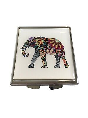 Elephant Square Daily Four Section Small Pocket Travel Size Pill Box -