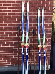 Vintage Cross Country Skis with Nordic Bamboo Ski Poles