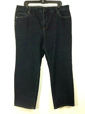 Avenue Denim Straight Leg Dark Wash Basic 5 Pocket Size 20 Petite Dark Wash Straight Leg Jean
