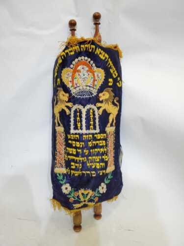 Torah Sefaradi rare vintage Sefer Torah Jewish Judaica teach display gift