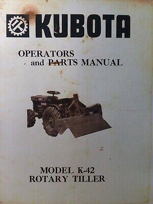 Kubota B6000 Diesel 4x4 Farm Tractor K-42 Tiller Implement Owner Parts Manual