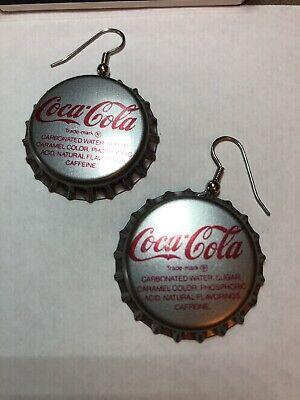 New Retro Coca-Cola Pierced Earrings Jewelry Coke Soda Bottle Caps French Hooks