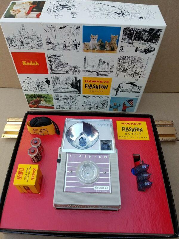NIB Kodak Hawkeye FlashFun Outfit Camera, Flash, 2 Batteries, Film & Booklet