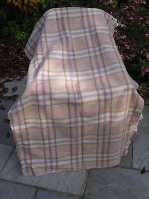 232) VINTAGE WELSH WOOL CHECK BLANKET