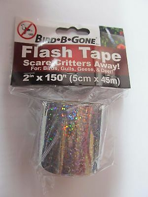 "Bird B Gone Flash Tape 2"" x 150'  #MMAFT-SIL Scare away critters  NEW"