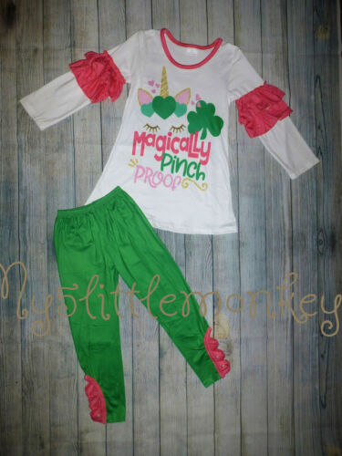 NEW Boutique St Patricks Day Unicorn Ruffle Sleeve Shirt Leggings Girls Outfit