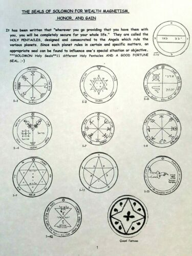 SEALS OF SOLOMON FOR WEALTH MAGNETISM, HONOR, AND GAINTalisman, Sigil, MONEY