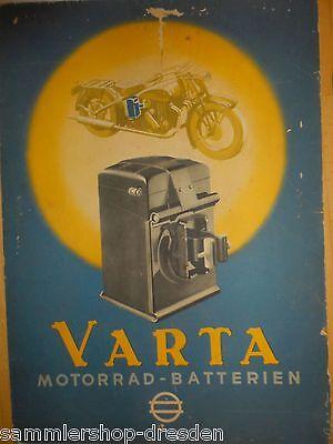 21074 Varta Plakat sign Baitz Motorrad- Batterien Vorkrieg 60x40cm berieben RAR