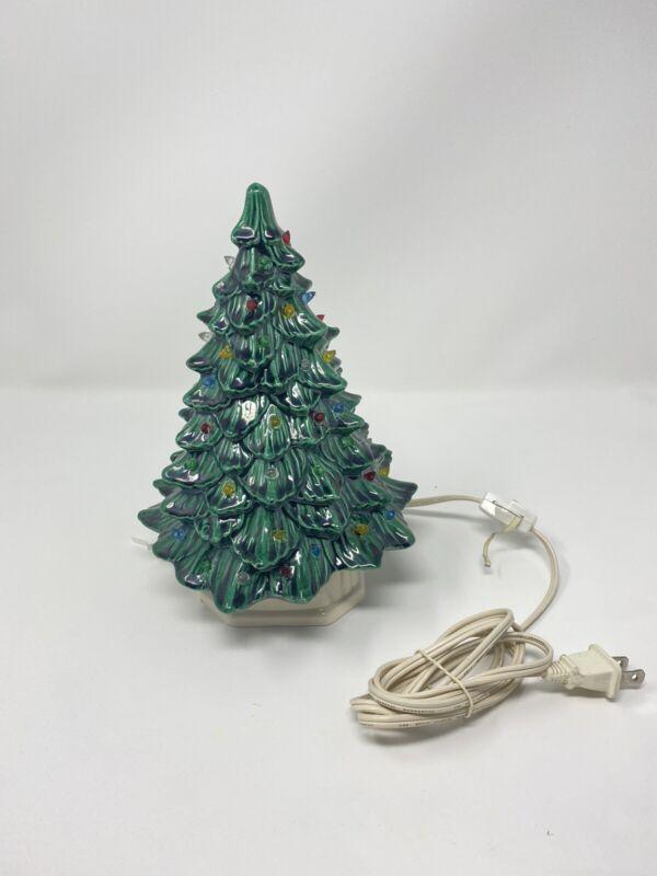 "Vintage 80s 1982 Doc Holliday Ceramic Green Lit Christmas Tree 9"" 2 Piece Light"