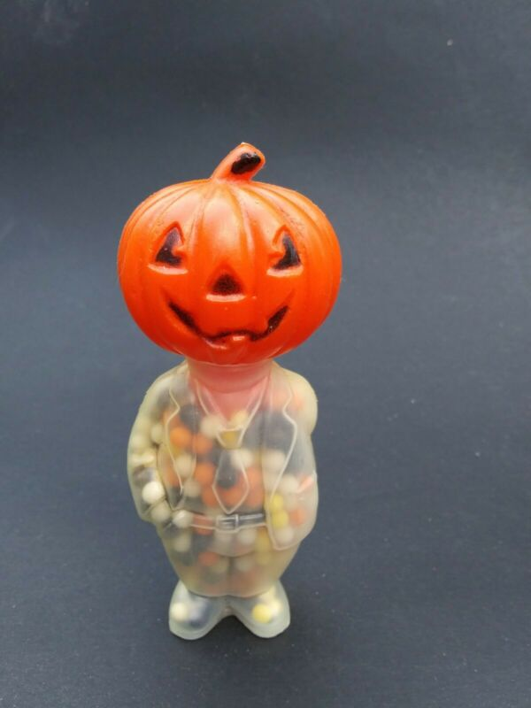 Vintage Halloween Pumpkin Head Man Candy Container Plastic Marked Hong Kong Full