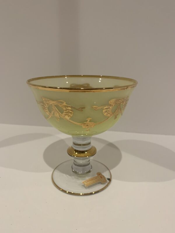Vintage Interglass 24K Yellow Compote Desert Glass W Tag