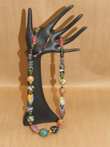 "VTG Venetian Glass Millefiori Multi Color African Trade Bead Necklace 5.2 oz 35"""
