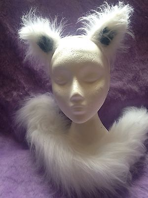 (Arctic Wolf Ears And Tail Set White/Grey Luxury Fancy Dress Animal Set One Size)