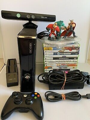 Xbox 360 S Slim 250GB Console Bundle - Kinect - 14 Games - Official Controller