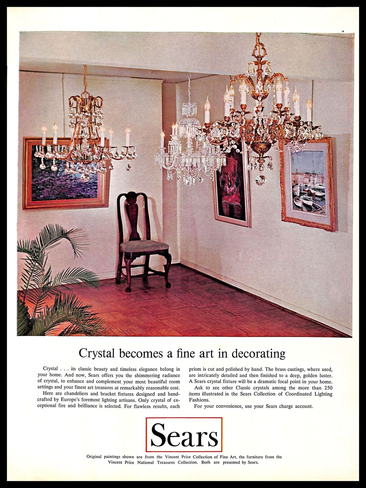 Details About 1966 Sears Crystal Chandeliers Vintage Print Ad Lighting Fixtures Home Decor