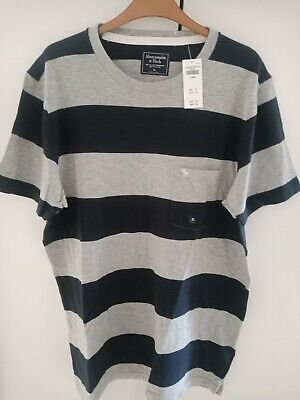 ABERCROMBIE AND FITCH MEN'S ICON POCKET STRIPED TEE COLOUR GREY AND BLUE...