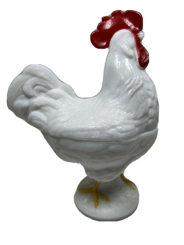 Westmorland Standing Rooster Milk Glass Candy Dish