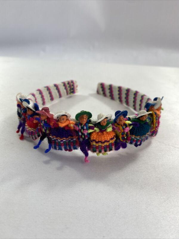 Homemade Guatemalan Worry Dolls Headband - Tiny Dolls w/hats and ponchos dresses
